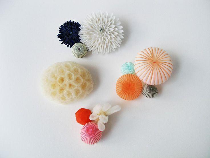Mariko Kusumoto Brooches Silk, polyester, thread, silver
