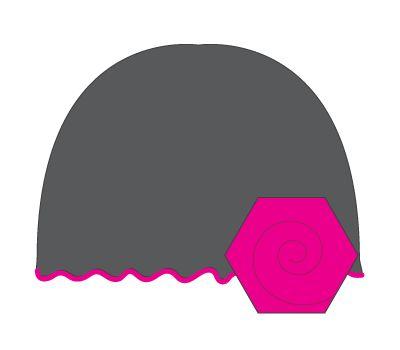 vintage hat: slate grey/hot pink flower