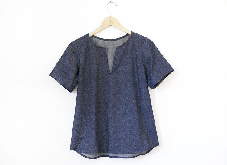 Denim top sewing tutorial. Grainline Studio | Madewell Scout Variation.