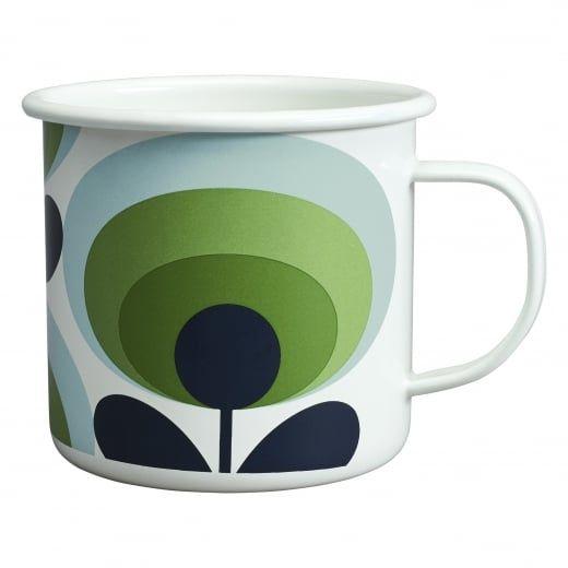 Orla Kiely House 70s Flower Oval Enamel Mug - Apple Green