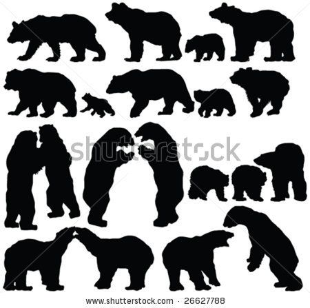 sillouette of bears | Bears Silhouette Collection - Vector - 26627788 : Shutterstock