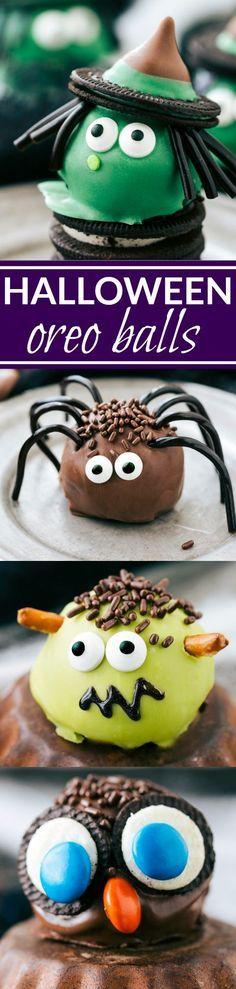Four different ways to dress up an oreo ball for Halloween -- a witch, spider, frankenstein, and an owl. Easy and delicious treats that are perfect for a party! Recipe via chelseasmessyapron.com