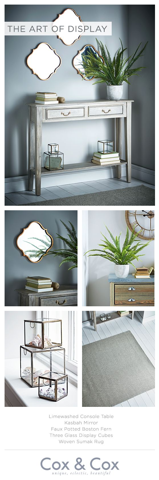 Create a fabulous display to add interest to your living space, with a slim console table, statement mirrors and delicate accessories.