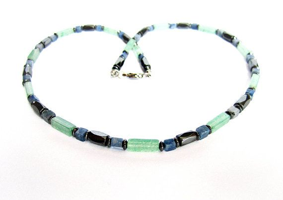 Mens beaded necklace blue green aventurine black hematite