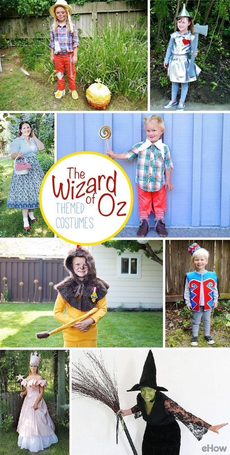 Get the whole family to dress up as all the infamous characters of Wizard of Oz! From the cowardly lion to Glinda the Good Witch, you can DIY all these costumes yourself to fit everyone in the family perfectly. We just love this group costume! http://www.ehow.com/way_5439382_diy-wizard-oz-costumes.html?utm_source=pinterest.com&utm_medium=referral&utm_content=curated&utm_campaign=fanpage