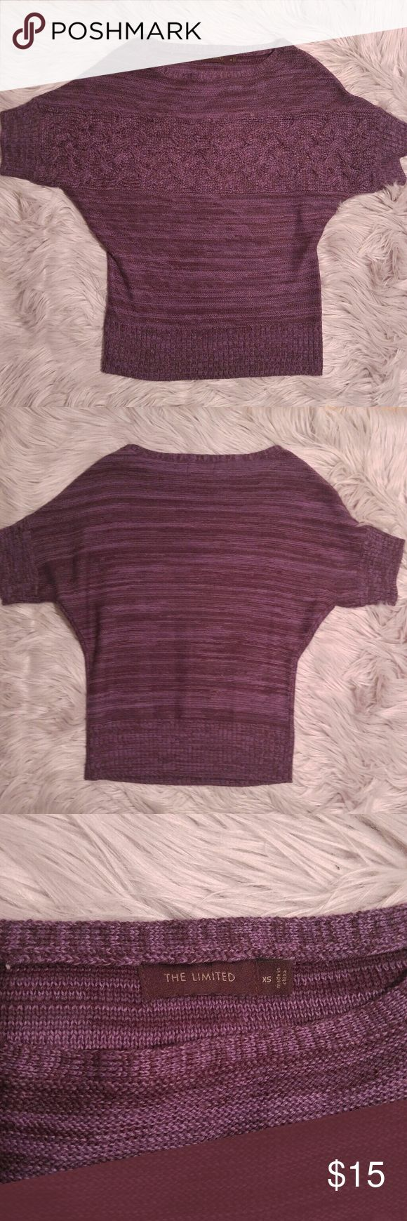 The Limited Knit Purple Tee The Limited Knit Purple Tee Cabled front Size XS EUC The Limited Tops Tees - Short Sleeve