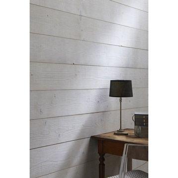 Lambris bois sapin brossé petits noeuds gris, 237x18cm, ép. 16mm