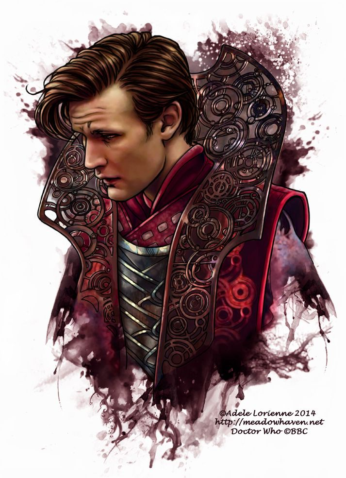 Eleventh Doctor -NM ~ Doctor Who fan art with Matt Smith as Eleven in a Gallifreyan Time Lord collar, mixed media (watercolor & digital) ~ LOVE! ♥♥♥ | by Saimain @ deviantArt