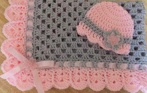Crochet baby blanket baby hat pink gray girl newborn gift