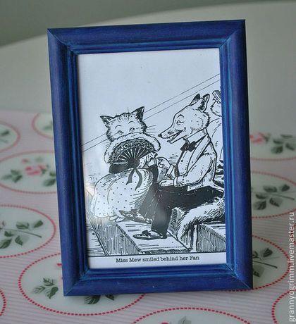 Темно-синяя рамка для фото в стиле шебби шик.  Dark blue shabby chic photo frame.