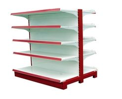 Double side gondola shelves for shop (007) ৳ 30,000.00 Categories: Industrial Furniture, Supermarket Gondola Tags: adjustable gondola, gondola shelving, grocery shelf, shelves for supermarkets, supermarket gondola, supermarket gondola shelving, Supermarket rack, supermarket shelving, supermarket stand shelf, wall shelves Model No: SG006 Paint: Powder coating Color: blue, white, red, yellow (also as your requirements) Layer: 5 Layer (capacity 70kg per layer) Materials: Mile Steel
