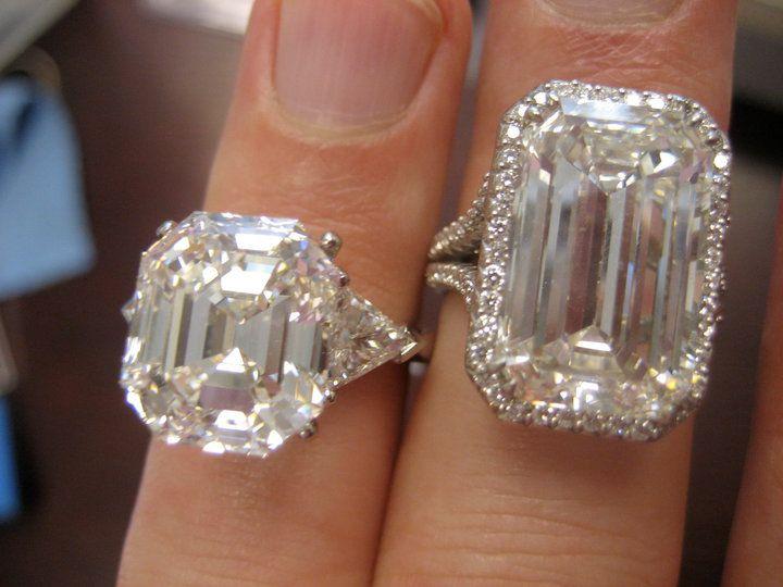 Big bling! Check out this emerald cut diamond and big asscher cut diamond.but I mostly like the asscher cut