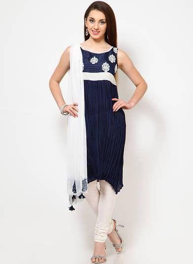 Blue & White Colour Party Wear Salwar Suit