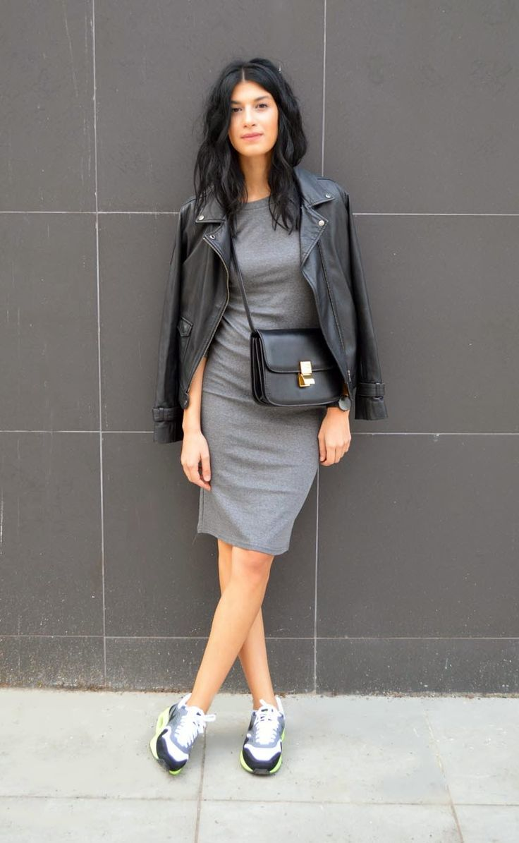 Shop this look on Lookastic:  http://lookastic.com/women/looks/grey-bodycon-dress-grey-athletic-shoes-black-crossbody-bag-black-biker-jacket/5451  — Grey Bodycon Dress  — Grey Athletic Shoes  — Black Leather Crossbody Bag  — Black Leather Biker Jacket