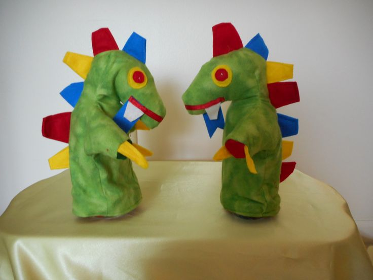 Dinosaur Puppets I used blue accents this time #dinosaur #puppet