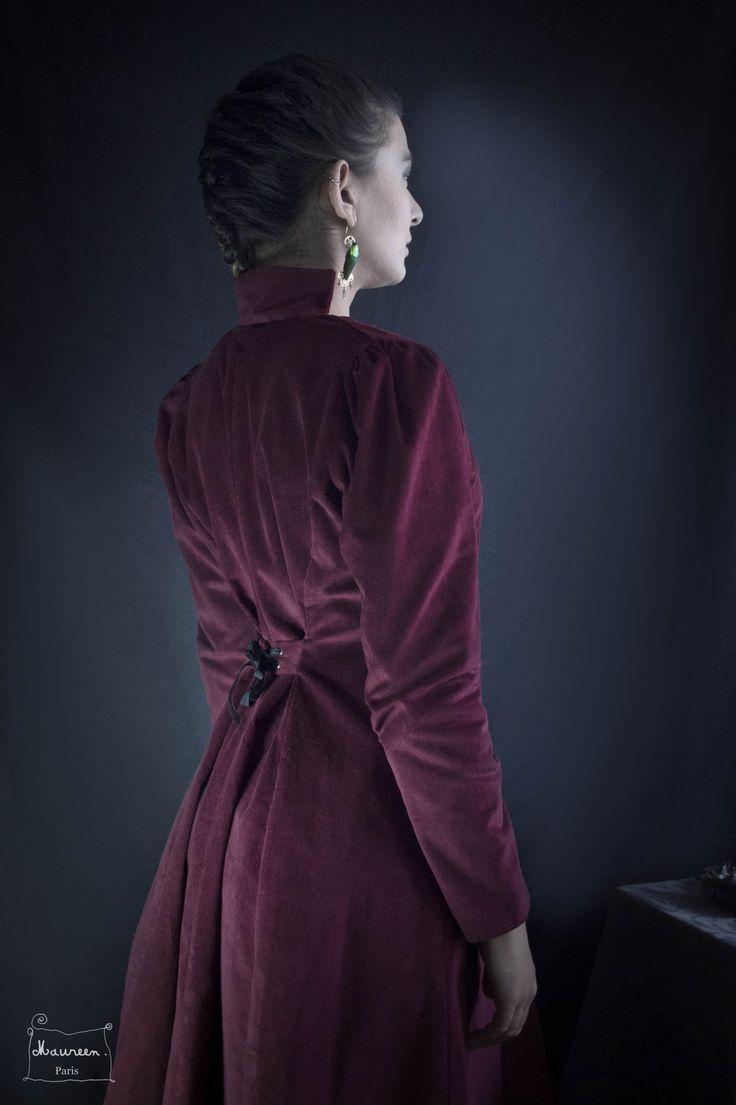manteau whitechapel en velours cotelé bordeaux : Manteau, Blouson, veste par maureen