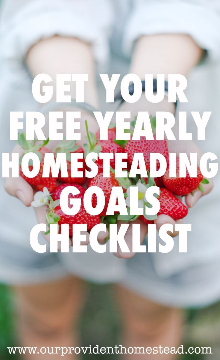 Are you ready to get your homestead up and going this year? Get our free PDF: a yearly homesteading goals chekclist. #homesteading #homestead #freebie #goals