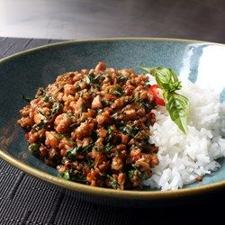 Spicy Thai Basil Chicken (Pad Krapow Gai) - Allrecipes.com Chef John recommends serving it with a fried egg (sunny side up) - Delicious!!!!