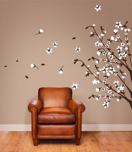 00699 Adesivi murali ''Rami di campo'' - Stickers adesivi - 150x123 cm - Marrone, bianco - Decorazione parete, adesivi per muro, carta da parati