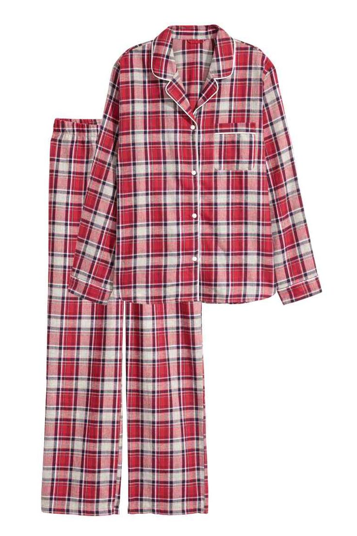 Flannel pyjamas - Red/Checked - Ladies | H&M GB