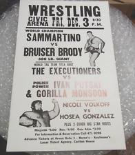 ORIGINAL 1970'S WRESTLING POSTER SAMMARTINO BRUISER BRODY PITTSBURGH CIVIC ARENA