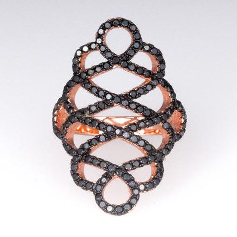 Rose Gold Plated Silver Ring With Black Cubic Zirconia
