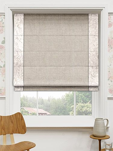 This gorgeous roman blind combines a traditional Pure Line body with a luxurious border, giving you a rustic window dressing with a glamorous twist. #bordered #roman #blinds