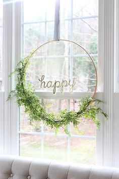 greenery hoop wreath with calligraphy