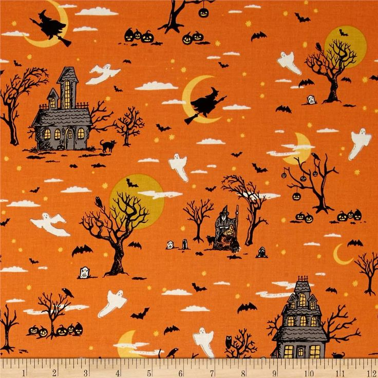 Pin By Storytelling On Happy Fabric: Riley Blake Happy Haunting Main Orange