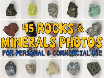 This purchase contains 45 photographs for commercial, personal, and educational use of rocks and minerals. Use real life photos to spark excitement and discussion during your rocks and minerals unit! Create TpT products and resources using real life photos of various igneous, sedimentary, and metamorphic rocks, along with minerals! *Check out the preview for a list of the rocks and minerals photographed*No credit required to use these images, but it is appreciated if you do.