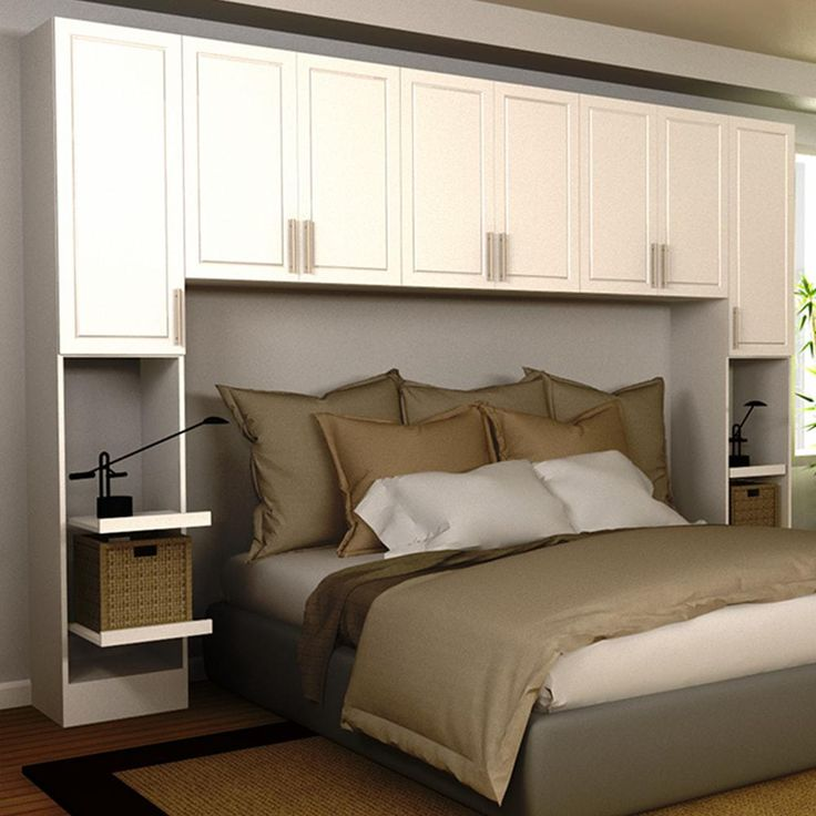 Madison King Size Bed Surround Melamine Cabinets in White