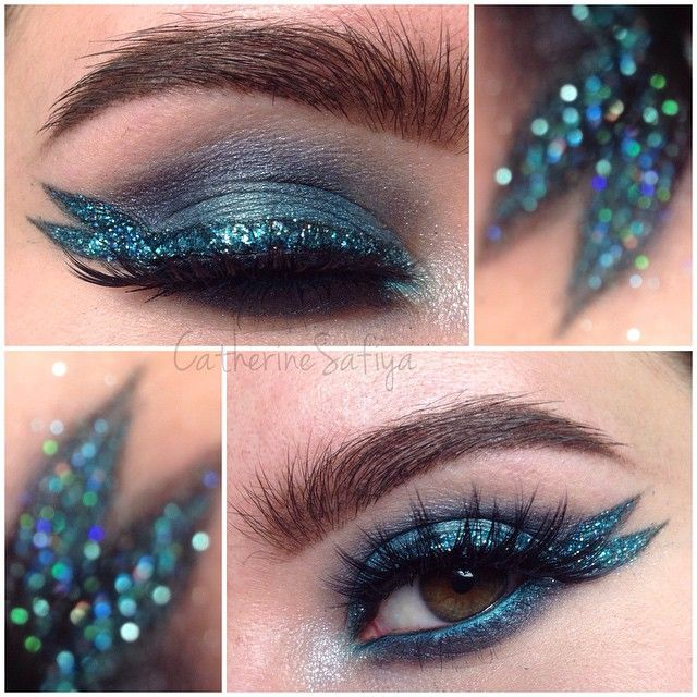 Category is: Mermaid realness  Sorry, I've been watching a lot of drag race lately lol. Speaking of which, who is excited for RPDR Season 7?!  Another look at my entry for #glitterfriday. It's easier to see the mermaid tail when my eye is closed. @litcosmetics @andeedoll  #litcosmetics #sephora ️Brows are ABH dark brown dipbrow. Glitter is @shopvioletvoss Tristen and Raven mixed. Shadows from UD Vice. @motivescosmetics LBD gel liner.