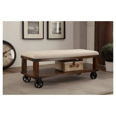 Veren Cushioned Castor Wheel Bench Light Oak - Furniture of America, Beachwood