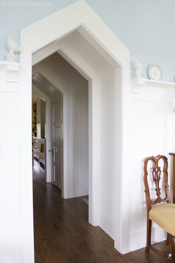 Arched Doorways | The Lettered Cottage | White Beadboard | Aqua Paint