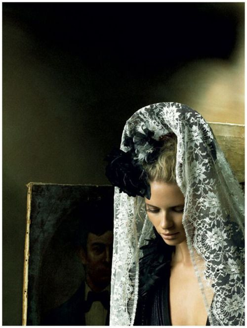 Julia Stegner | Alexi Lubomirski #photography | Vogue Germany December 2008 | via tumblr: Lace, Wedding Veils, Julia Stegner, Juliastegner, Fashion Models, Vogue Germany, Alexis Lubomirski, Fashion Pictures, December 2008
