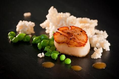 Chef Alvin Leung's scallop with sugarsnap peas jolo Sichuan sauce and woba.