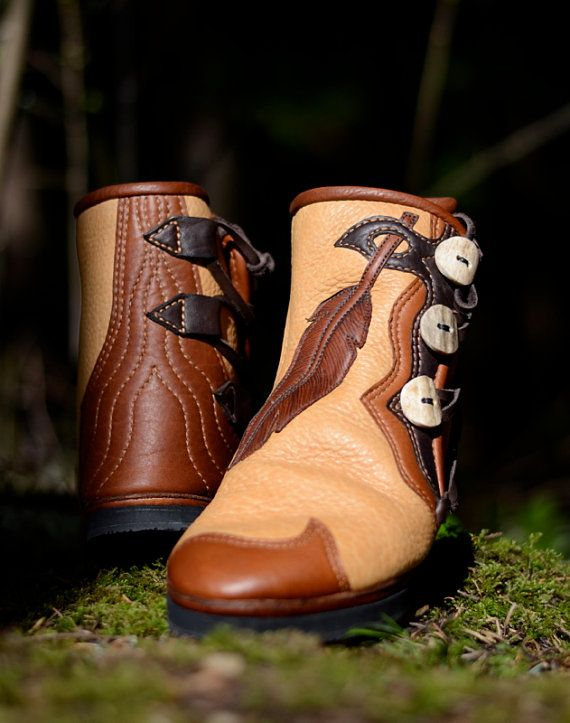 Feather & Leather Moccasin Boots Custom by SoulPathShoes on Etsy