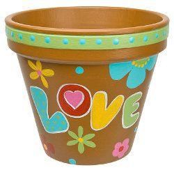 Painting Terracotta Pots Ideas | Painted Hippy Clay Pot | FaveCrafts.com