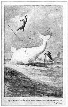 As opposed to modern day whale hunting images, looks like the whale is getting the better of the men in this classic tale.