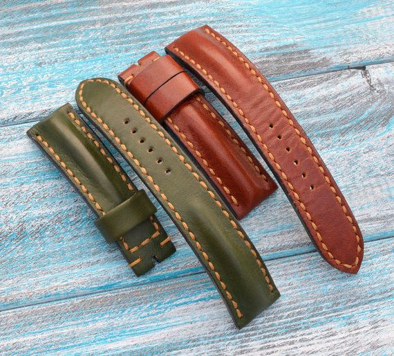22/20 green and maroon leather watch straps by VladislavKostetskyi