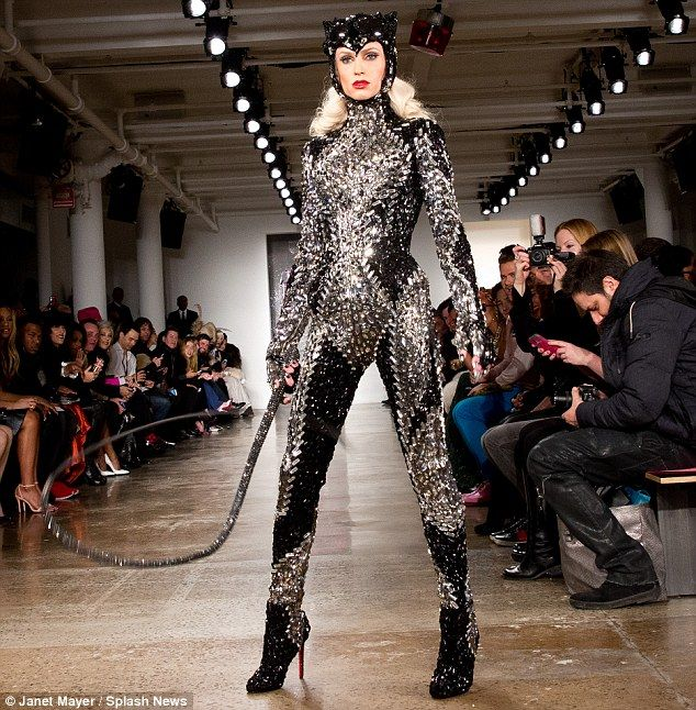 Catwoman outfit: A model at The Blonds show wore a sparkling suit resembling a catwoman outfit