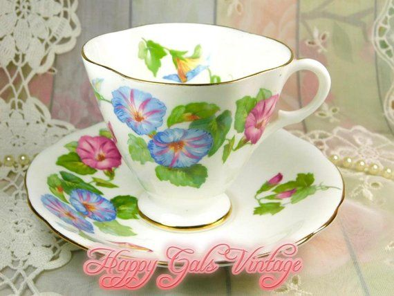Morning Glories Teacup By Clarence Blue Morning Glory Flower Teacup Morning Glories Teacup Saucer Vintage Blue Flowe Blue Morning Glory Tea Cups Handmade