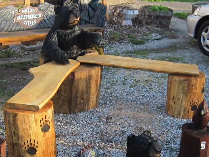 Chainsaw carving carved art wood black bear bench