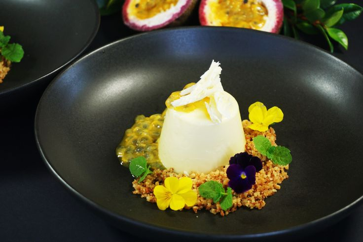 White Chocolate Panna Cotta with Passionfruit and Coconut Crumb | Dessert for Two
