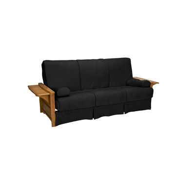 Valet Perfect Sit and Sleep Futon and Mattress Upholstery: Suede - Ebony Black, Size: Queen, Finish: Medium Oak - http://delanico.com/futons/valet-perfect-sit-and-sleep-futon-and-mattress-upholstery-suede-ebony-black-size-queen-finish-medium-oak-659776112/