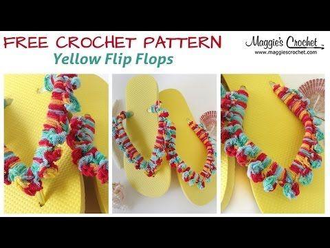 Yellow Flip Flop Free Crochet Pattern - Right Handed - YouTube