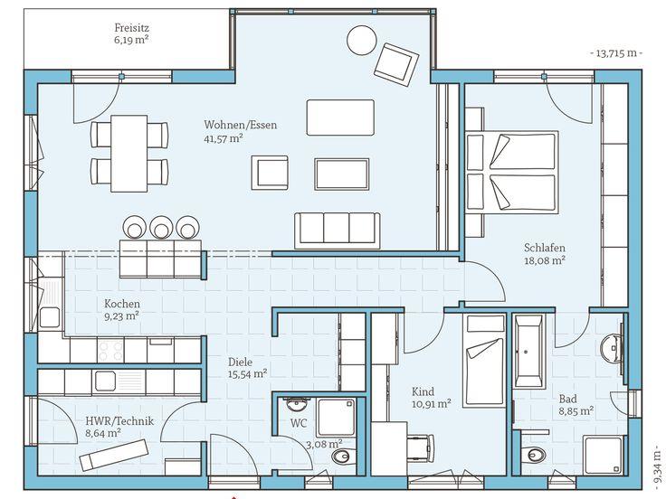Musterhaus bungalow modern  12 besten Bungalow Grundrisse Bilder auf Pinterest | Offene küche ...