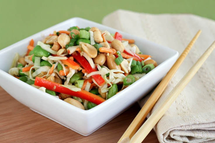 ASIAN SLAW WITH GINGER PEANUT DRESSING @Let's Dish Recipes #salad # ...