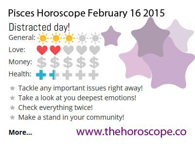 Distracted day for #Pisces on Feb 16th #horoscope ... http://www.thehoroscope.co/horoscope/Pisces-Horoscope-today-February-16-2015-2272.html