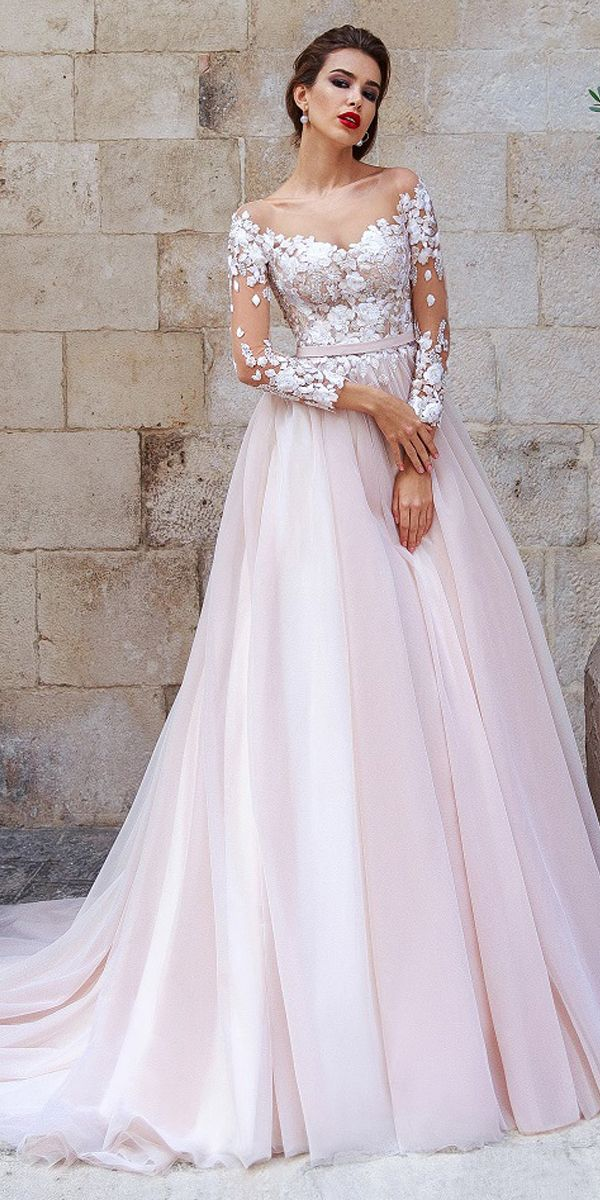 d93e0779ca2 Attractive Tulle Scoop Neckline A-line Wedding Dress With Lace Appliques    3D Flowers   Beadings